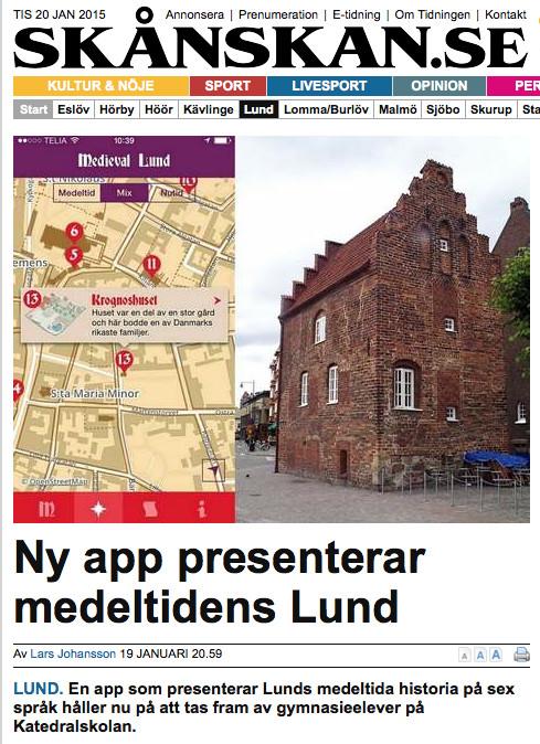 Skånskans förstasida - Ny app presenterar medeltidens Lund